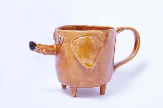 Ceramic mug brown Azorek Handmade Large Ceramic Coffee by Lamabo