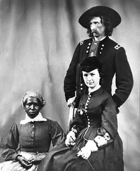 "Original pinner said ""It was actually Libbie who made me pin her. Photo of George Custer with his Wife and Cook. Libbie is in riding gear. Cool lady. Deserves more volumes than her silly hubby."""