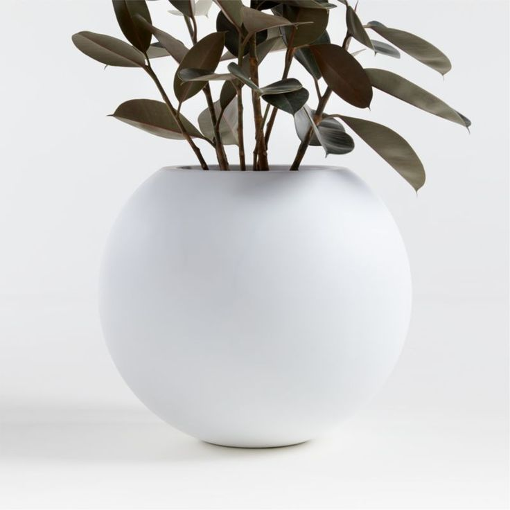 Sphere Small White Planter Crate And Barrel In 2020 400 x 300
