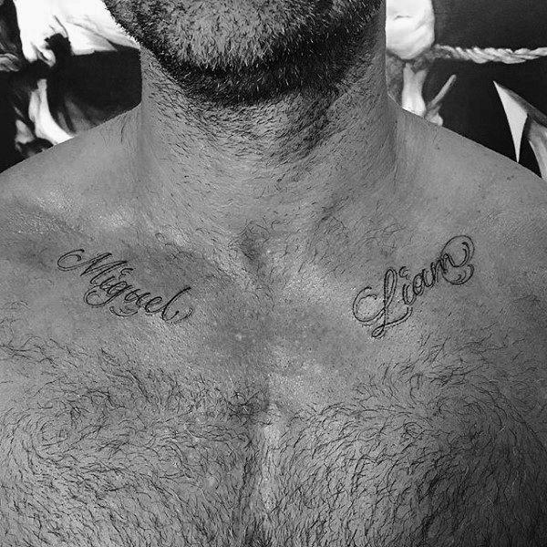 Men's Small Name Collar Bone Tattoo Ideas #Tattoos # Ideas #Tiny # Bones #Collar