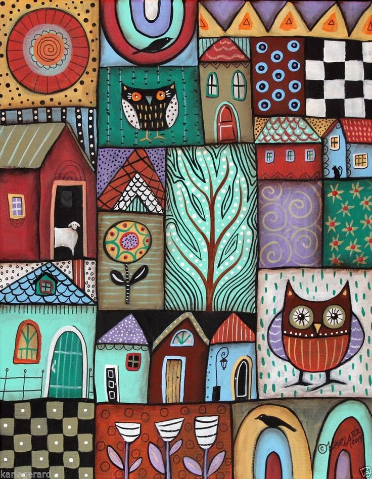 Folk Patches 11x14 inch ORIGINAL Canvas PAINTING Abstract FOLK ART Karla Gerard..
