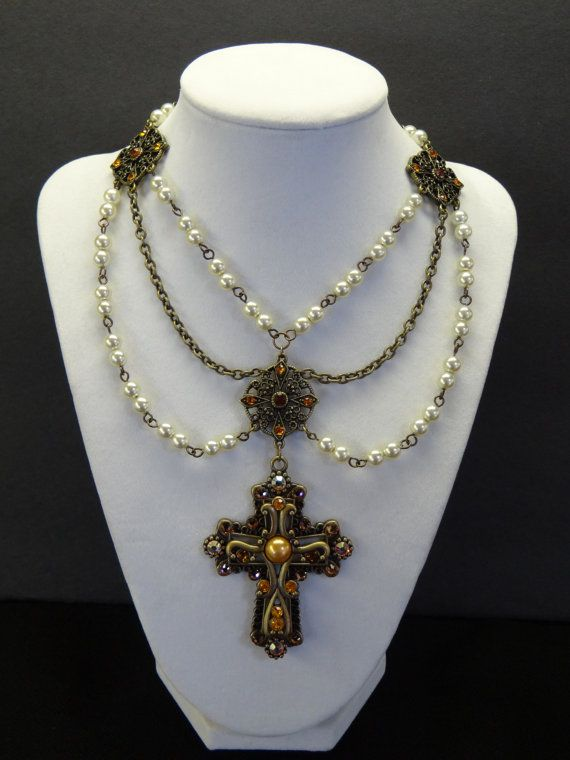 Queen Anne Renaissance Medieval Jeweled Cross
