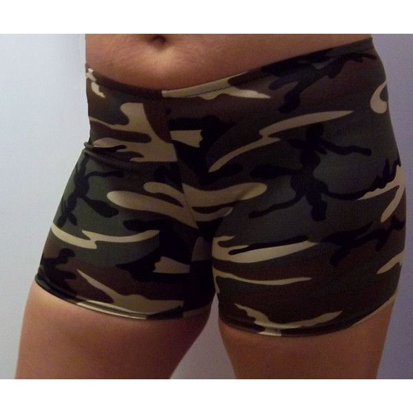 Camouflage Shorts Vollyball Spendex Shorts for Women Running Spandex... ($17) ❤ liked on Polyvore featuring activewear, activewear shorts, dark olive and women's clothing