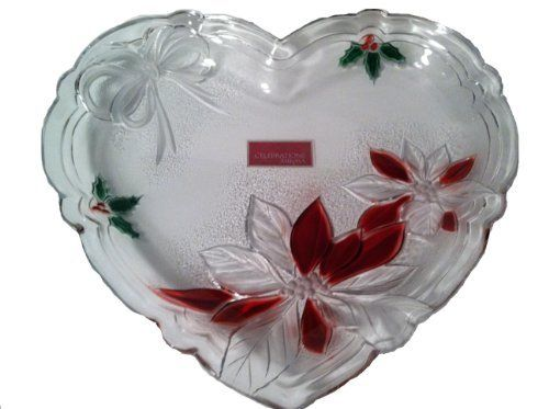 Mikasa Celebrations Heart Plate - Poinsettia Collection by Mikasa. Save 34 Off!. $32.99. Heart Shaped. Clear glass with colored poinsettia design. Embrace the holidays with this glass heart plate that brings cheer and glee to any home! A romantic heart and festive  design in precious glass wind their way across this plate, making the Poinsettia Collection's Heart Plate a classic pattern to be treasured for anniversaries to come. Great for engagements, weddings and anniversaries. T...