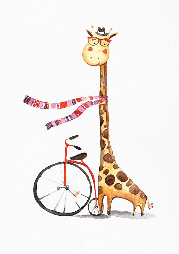 Mr. Giraffe loves traveling. He traveled all over the globe on his beloved bicycle.  This print can be hung on the nursery wall for a boy or a girl. ---PRINTING---  Quality prints made on thick, durable, archival, acid-free matte paper (basis weight 192 gsm) using Epson UltraChrome water based HDR ink-jet technology.  ---SIZE---  8 x 10 = 20.32 x 25.40 cm 12 x 16 = 30.48 x 40.64 cm 12 x 18 = 30.48 x 45.72 cm 16 x 20 = 40.64 x 50.80 cm  ---COPIRYGHTS---  Copyright © by Dear...