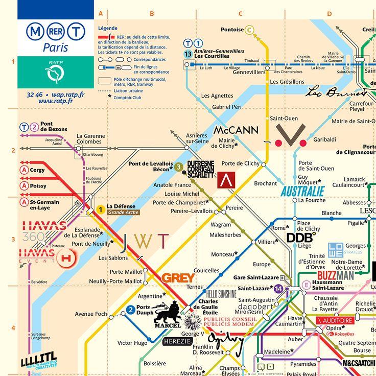 La carte de Paris des agences de publicité : la roadmap parisienne du publicitaire français ! Il y a quelques semaines, le team créatifRichard & Jolyon a fait de même en Angleterre : disposer surun plan du métro,les principales agences de publicité situées àLondres. Découvrez aujourd'hui la version française, avec une carte de Paris qui répertorie les 50 agences principales de la capitale. Cliquer sur la carte pour l'agrandir ! PARTAGER    Tweet  33 agences dans Paris / 17 agences…