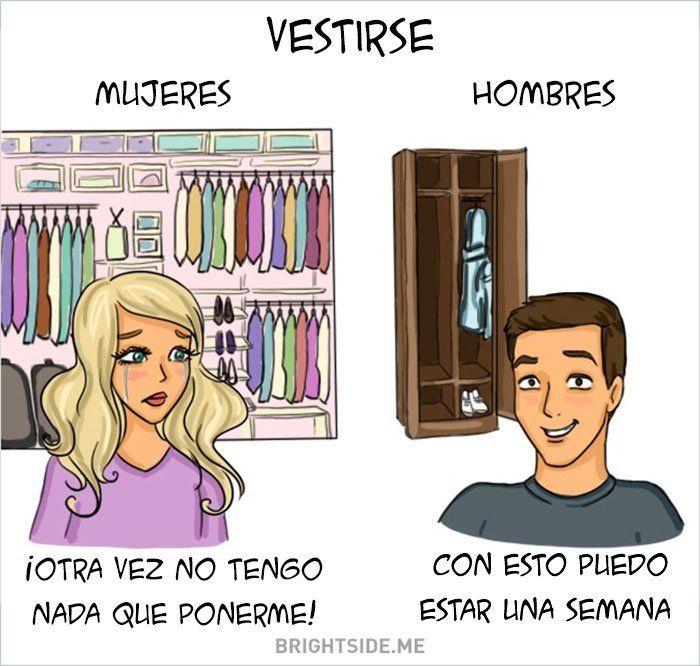 diferencia de vestirse entre hombres y mujeres