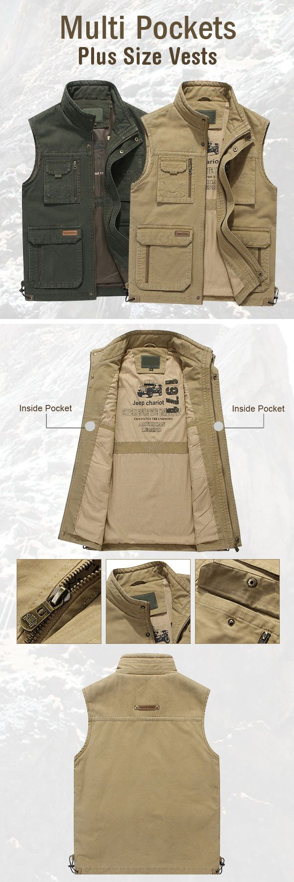 Casual Outdoor Vests for Men: Multi Functions /Cotton  /Loose