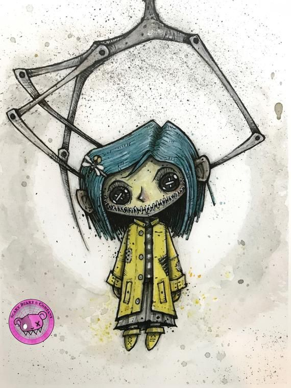 Button Eyed Coraline Art Print Inktober 2018 In 2020 Creepy Drawings Scary Drawings Coraline Art