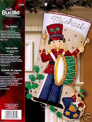 "Bucilla Toy Soldier ~ 18"" Musical Felt Christmas Stocking Kit #85434 Drummer Boy"