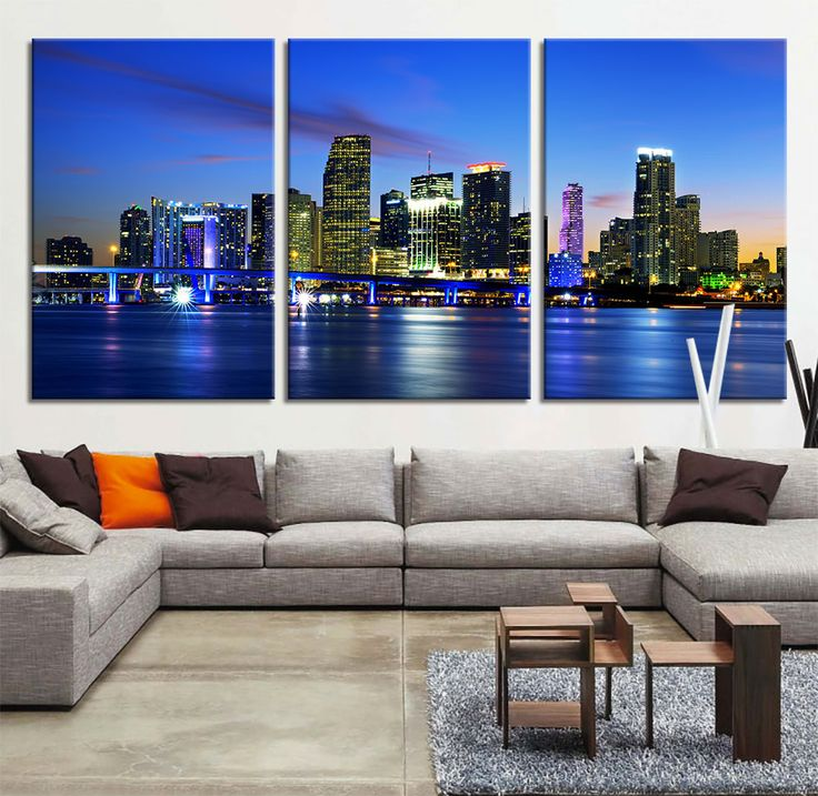 large art canvas print miami skyline night cityscape miami large canvas print miami
