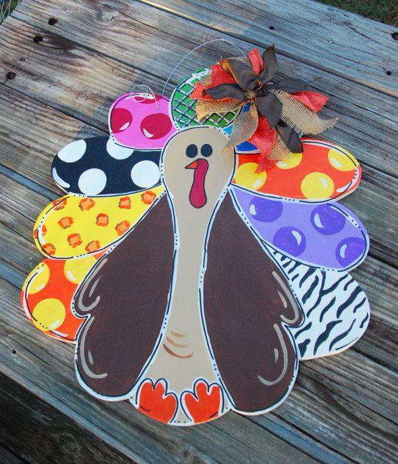 Hand Painted Turkey Door Hanger By NeedmoreHeart On Etsy, $35.00
