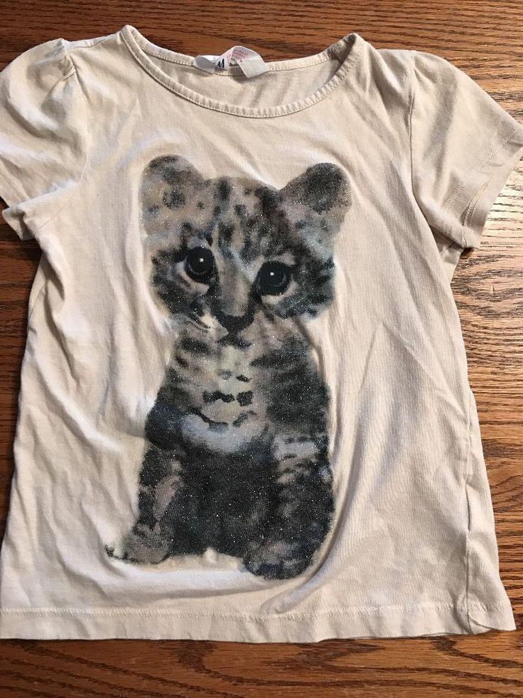 H&M Girls Size 6-8 Leopard Cub Short Sleeve Beige Tee Shirt    eBay