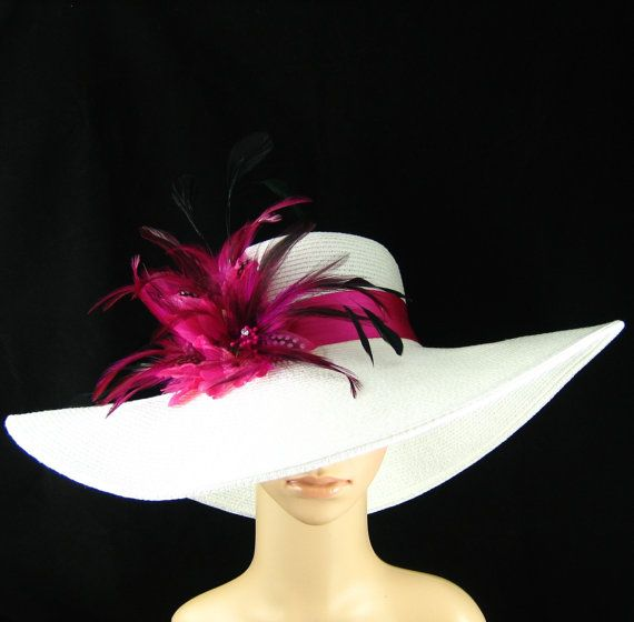 Derby Hat, Kentucky Derby Hat, Pink Feather Flower Hat, White Wide Brim Hat ,Wedding Hat,Tea Party ,Ascot Horse Racing on Etsy, $74.99