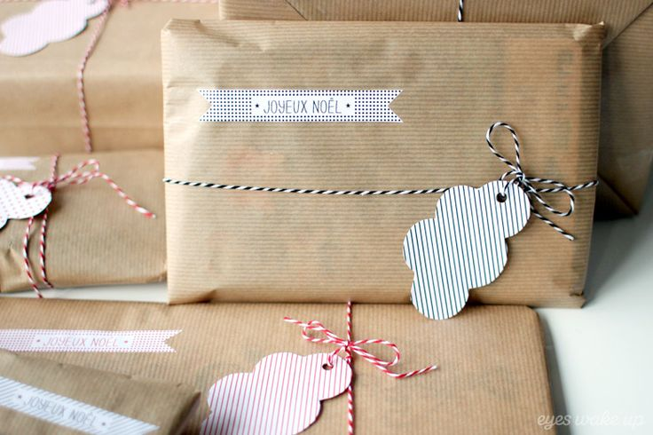 Wrapping / Gift tag / Christmas tag / Paquet cadeau Noël / www.eyeswakeup.com