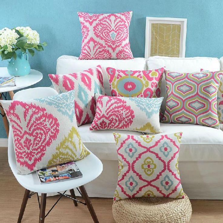 """18 """" quadrado geométrico moderno linho algodão capa de almofada Ikea sofá cadeira carro casa decorativo jogar travesseiro fronha almofadas alishoppbrasil"""