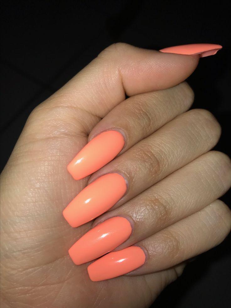 Peach nails. #peach #nails #acrylic #coffin | Nails in ...