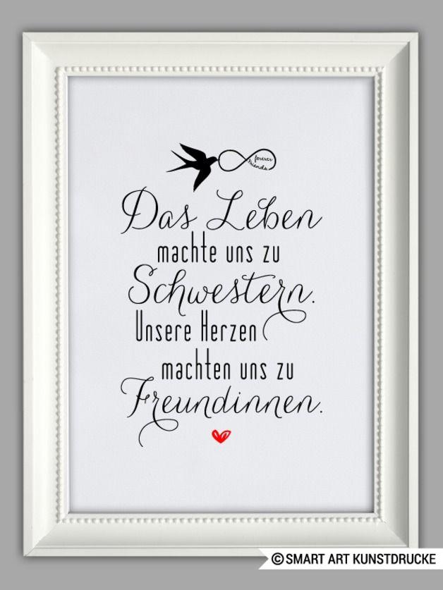 """Originaldruck – """"SCHWESTERHERZ"""" Kunstdruck Geschenk – ein Designerstück von Sma…"""
