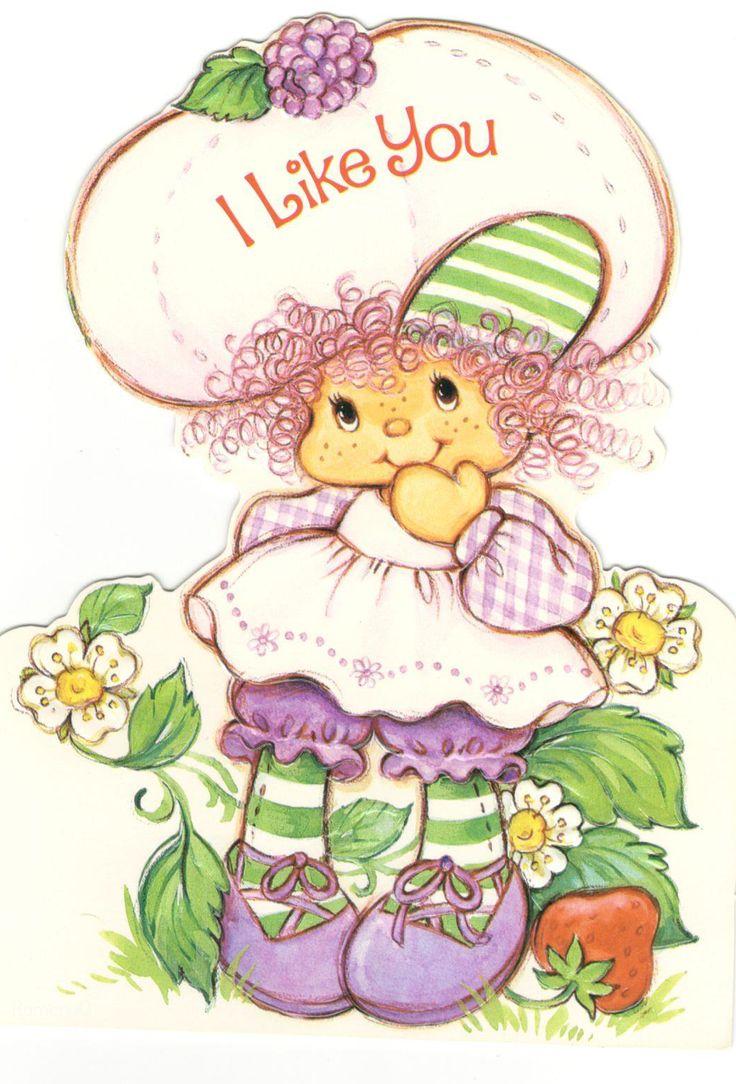"Vintage Kenner / American Greetings Strawberry Shortcake Raspberry Tart ""I Like You"" Card"
