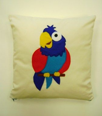 Fun Felt Cushion Cover - Parrot, £15.00  -other designs available, can be made to order!