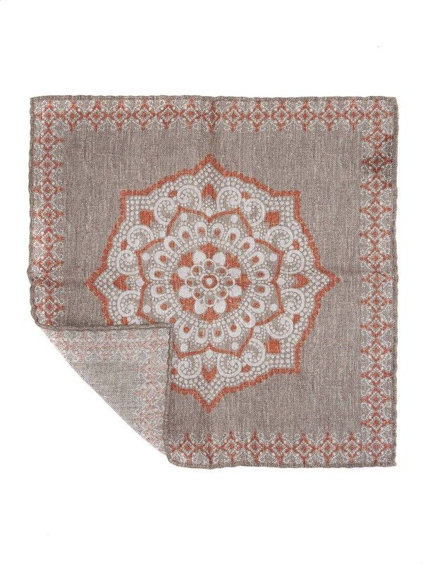 Elegant brown and orange pocket handkerchief Rosi Collection Made in Italy