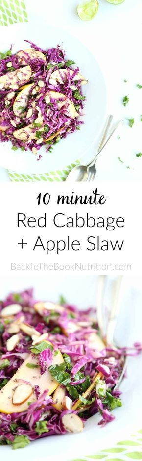 Red cabbage and apple slaw - super easy, 10-minute recipe, perfect for burger night! Gluten free, grain free, dairy free. | Back To The Book Nutrition