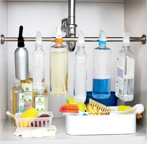 tension rod for spray bottles? The Beauty of The Best House: Organize kitchen
