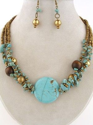 Chunky Layered Turquoise Stone Wood Beads Fashion Jewelry Necklace Earrings Set