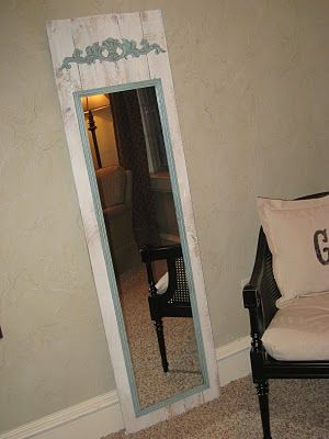 What a GREAT DIY full length mirror! Super cheap to make too!