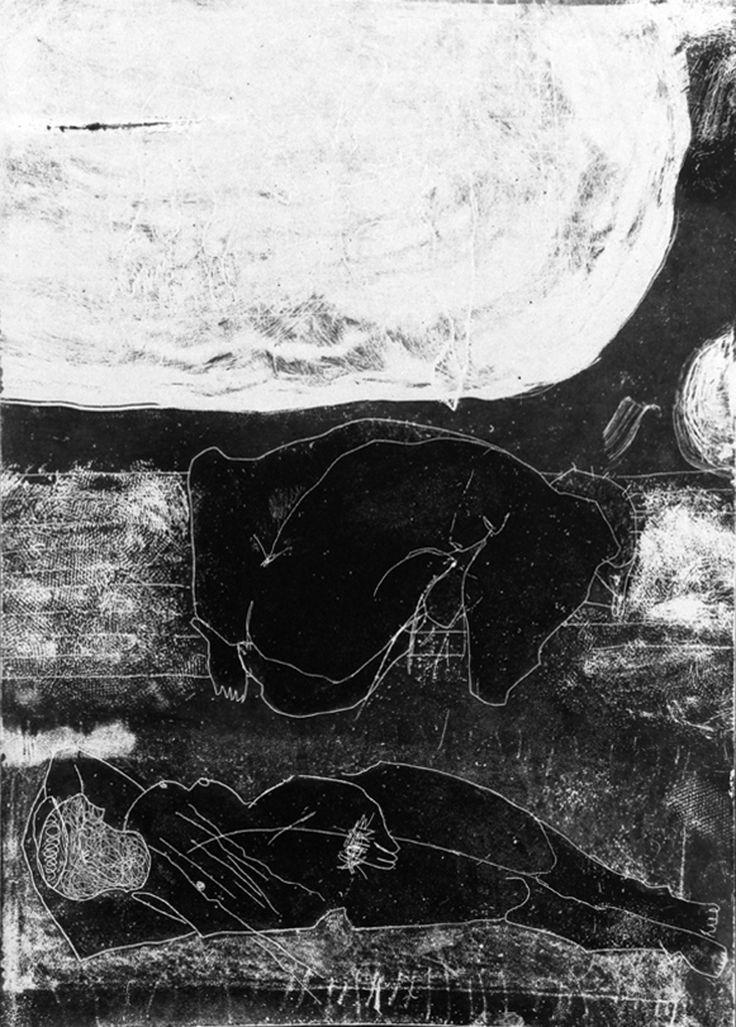 "MATEUSZ CZAPEK / ""PO PRACY"" / 2013 / 29 x 41 cm / akwaforta (negatyw)"