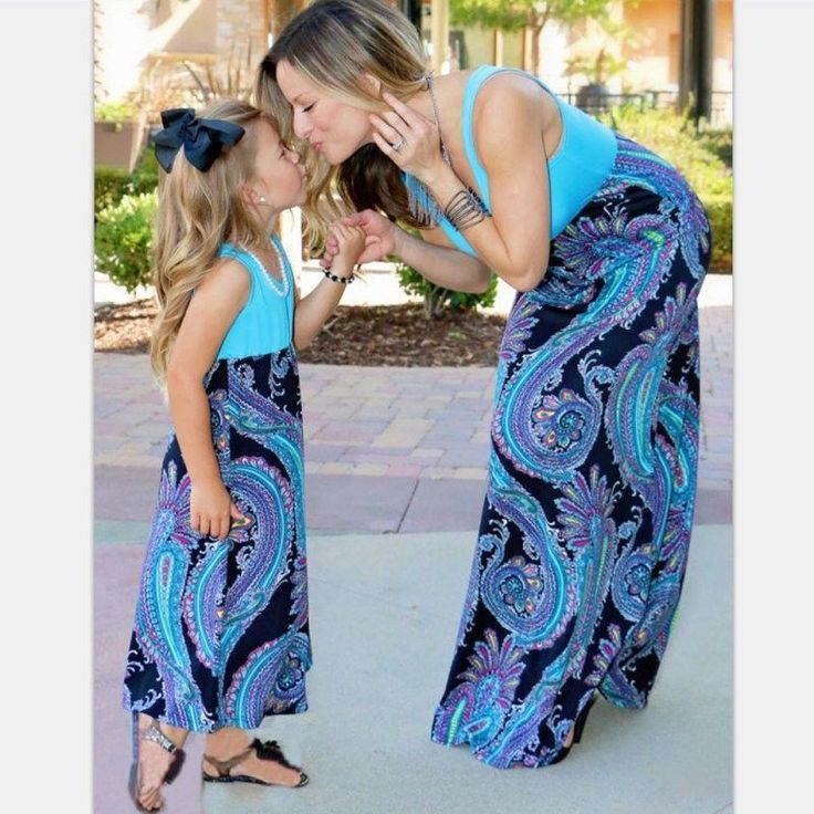 Mother And Daughter Casual Boho Stripe Maxi Dress Mommy&Me Matching Set Outfits^ https://presentbaby.com
