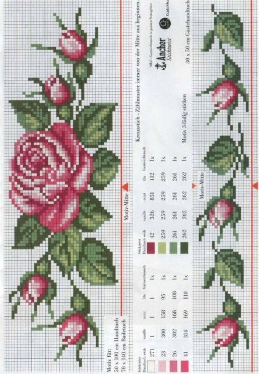 Rose/Rose Buds Border pattern