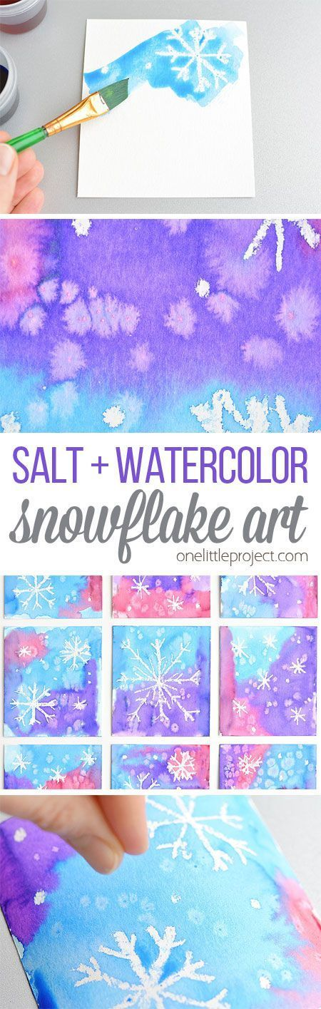 This magical salt and watercolor snowflake art project for kids is so much fun! th