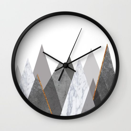 Marble Gray Copper Black and White Mountains Wall Clock by xiari on @Society6. copper, black, gold, chevron, pattern, geometry, concrete, geometric, minimalist, seamless, stripes, scandinavian, nordic, mid century, wall art, home decor, scandi design, tapestries, duvet cover, interior design, bedroom, living room, dorm,society6