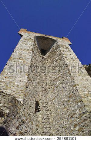 view of passignano sul trasimeno a old medieval village  - stock photo