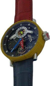 Alain Silberstein: Tourbillon Volant Limited Edition Mens Watch, TMA3 008 (Steel & Yellow Leather Case / Skeletonized Dial / Blue, Read, Yellow Leather Strap)