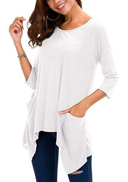 b42ed6c0ba942 Urban GoCo Femmes Lâches Tee-Shirt 3 4 Manches Tunique Tops Ourlet  Irrégulier avec