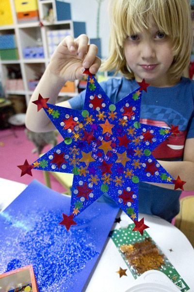 Paper stars with designs & tiny starts on them. Would look nice in a window