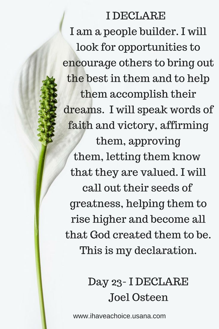 Day 23 I Declare by Joel Osteen. I am a people builder...I will call out their seeds of greatness, helping them to rise higher and become all that God created them to be.
