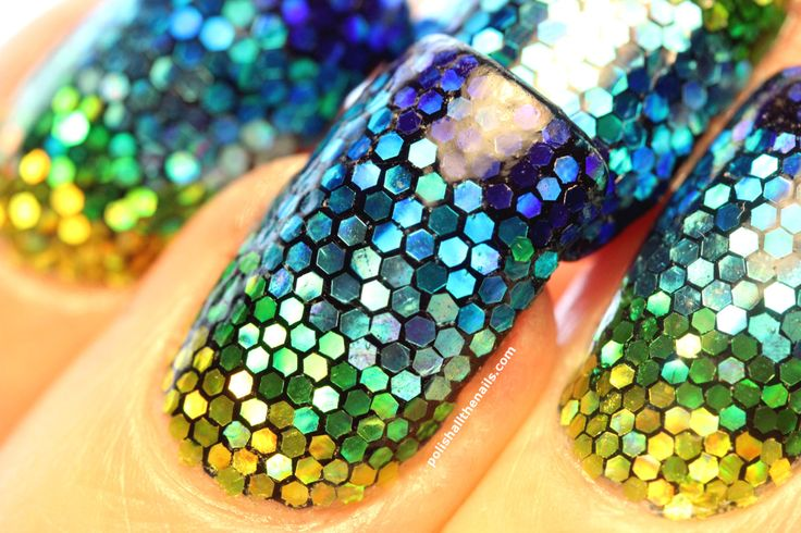 polishallthenails:  Sure, there's nearly a thousand individually placed pieces of glitter on this mermaid mani but THAT DOESN'T MAKE ME CRAZY OK I JUST LIKE GLITTER Post is here and glitter is here!