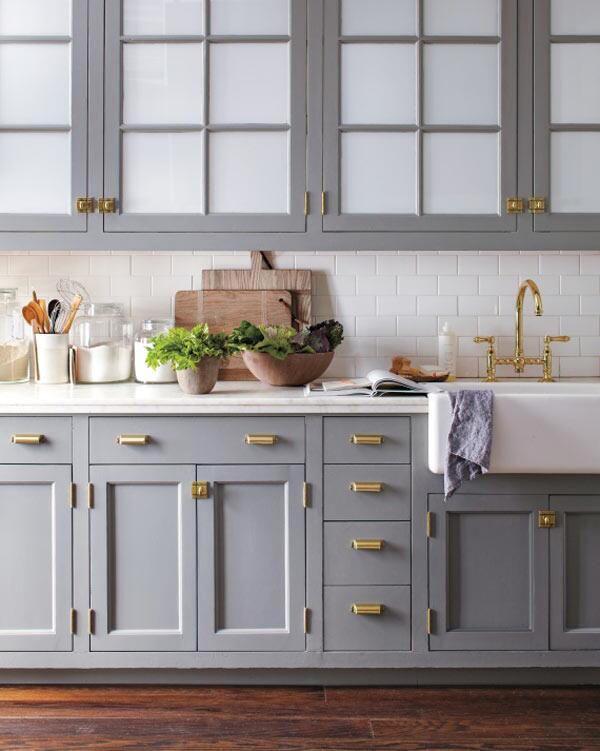Brass Hardware | Hardware Pulls | Kitchen Cabinetry | Blue Gray Color | Home Ideas | Interior Design