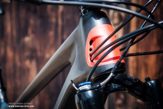All of the cables are internally routed, and we presume these larger openings are for the rear shock's ventilation. Enduro MTB Magazine