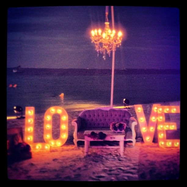 """{LifeStyle} Outdoor opulence... why not when you're getting married? Chandeliers dangling on the beach at sunset simply make us swoon: """"How romantic!"""" #weddingwednesday #playadelstyle"""