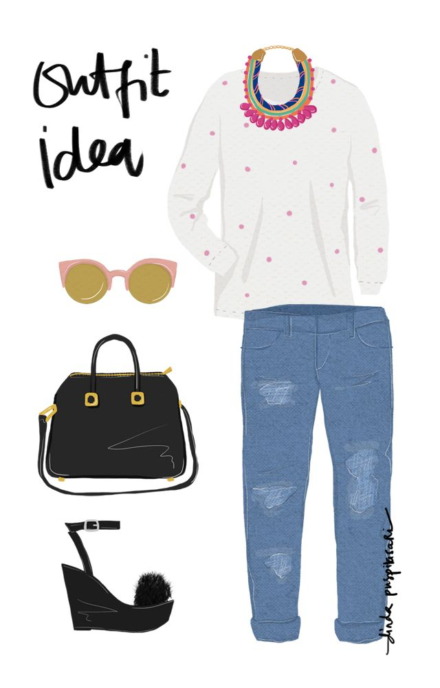 Take a Look: [Illustration] Outfit Ideas - Boyfriend Jeans by Dinda Puspiatasari