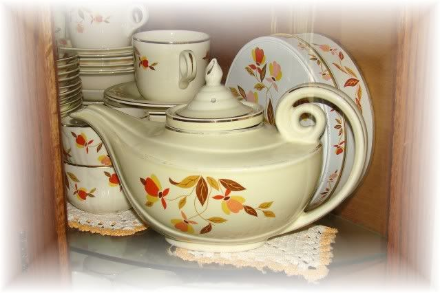 jewel tea autumn leaf dishes worth | Here's a full view of the china cabinet...hard to get a good pic: