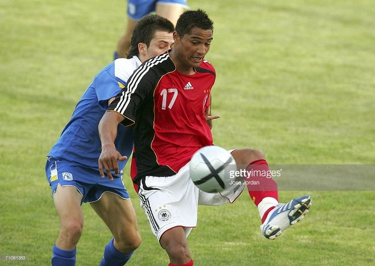 Kevin-Prince Boateng vies for the ball with Andreas Papanastasiou of Cyprus during the UEFA Under 19 qualification round between Germany and Cyprus at the Estadio Municipal on May 26, 2006 in Torrevieja, Spain.