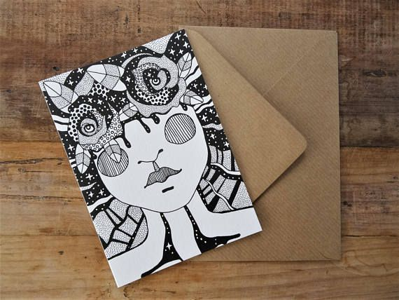 ~ Tattoo Lover Gift Idea ~ Quality art prints on textured pearl white paper + rustic brown envelope. Greetings Cards available from my Etsy Shop, Roots Wings and Things. FREE POSTAGE TO UK!!!