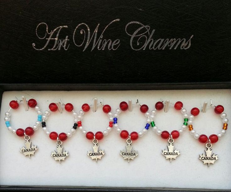 6 Canada Maple Leaf themed Wine Charms by PickinsGalore on Etsy