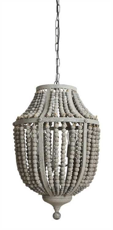 "Made of wood and metal beading with a light grey wash, this chandelier complements costal styles. Perfect for a beach home or a sunroom. 17-1/2"" Round x 27-1/4""H Wood Bead & Metal Chandelier, Grey (40"