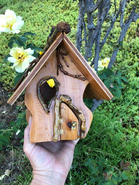Outdoor Funky Fairy House Handmade Of Wood For Elves Or Etsy In 2021 Fairy Garden Designs Fairy House Diy Fairy House